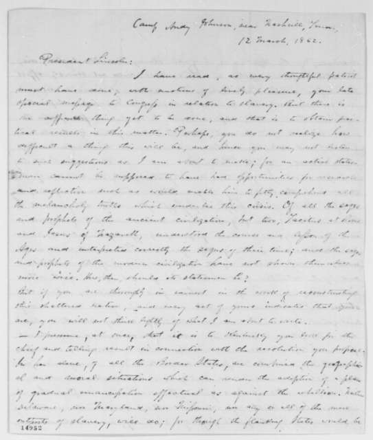 Charles D. Armstrong to Abraham Lincoln, Wednesday, March 12, 1862  (Lincoln's plan for compensated emancipation)