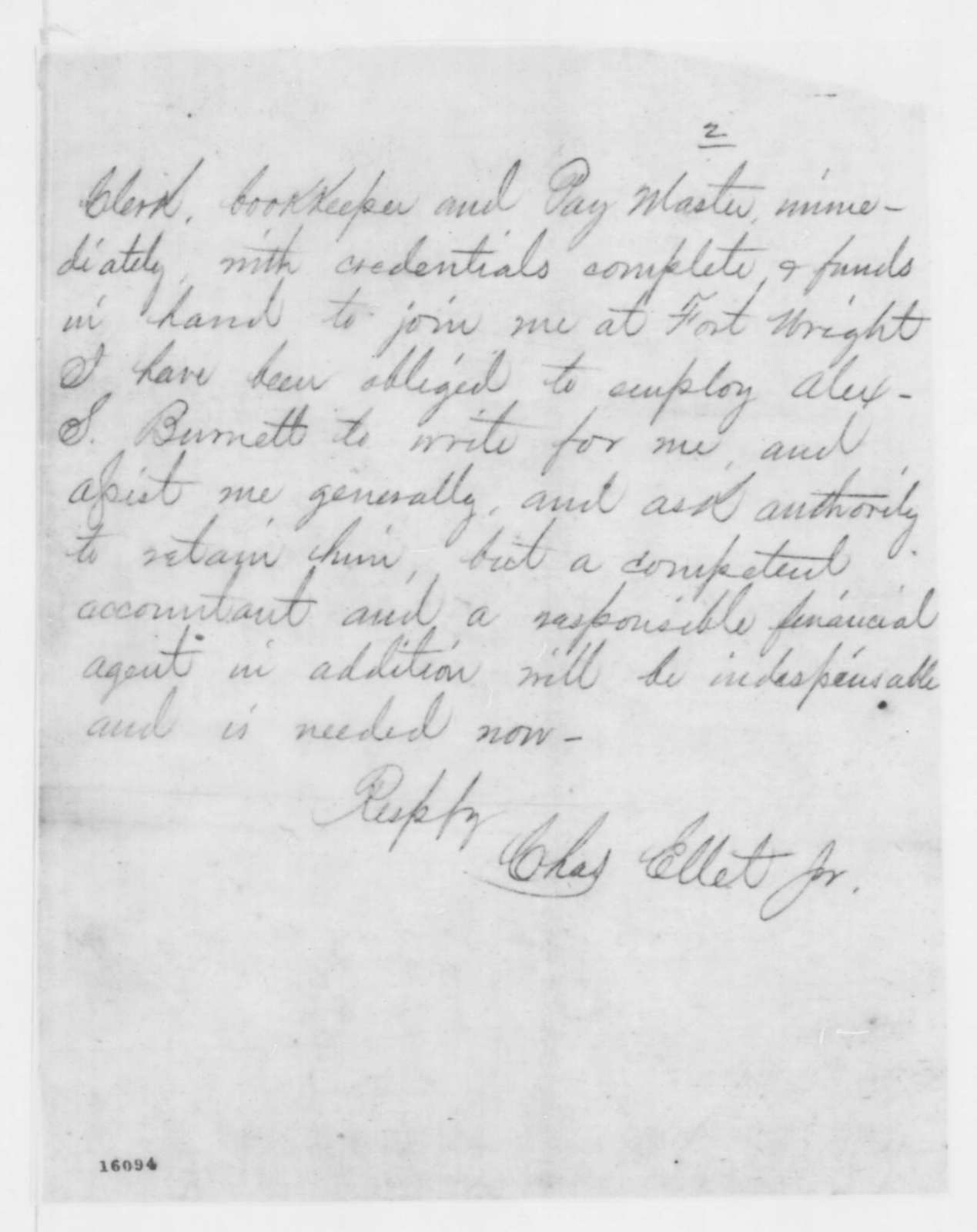 Charles Ellet Jr. to Edwin M. Stanton, Monday, May 19, 1862  (Telegram regarding military affairs)