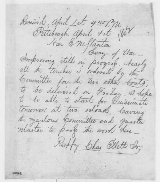 Charles Ellet Jr. to Edwin M. Stanton, Tuesday, April 01, 1862  (Telegram regarding military affairs)