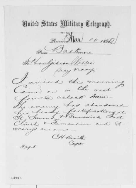 Charles H. Davis to Gideon Welles, Monday, March 10, 1862  (Telegram regarding military affairs)
