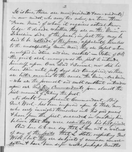 Charles H. Keener to Abraham Lincoln, Thursday, October 30, 1862  (Affairs in Baltimore and conduct of General Wool)