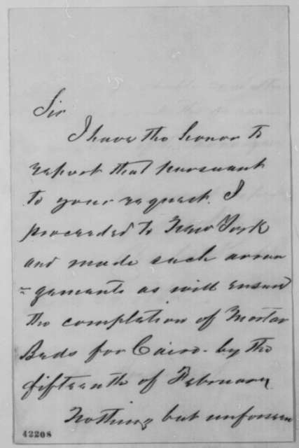 Charles Knap to Abraham Lincoln, Wednesday, January 29, 1862  (Military affairs)