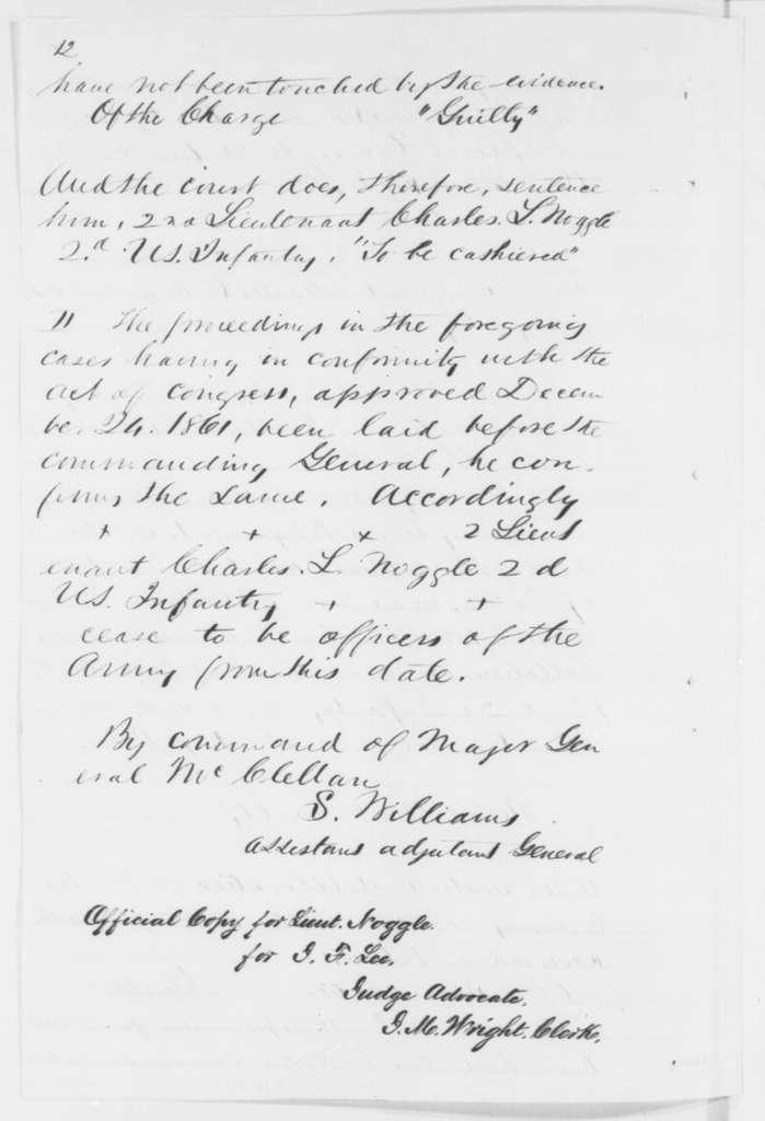 Charles L. Noggle, Monday, July 07, 1862  (General Court Martial)