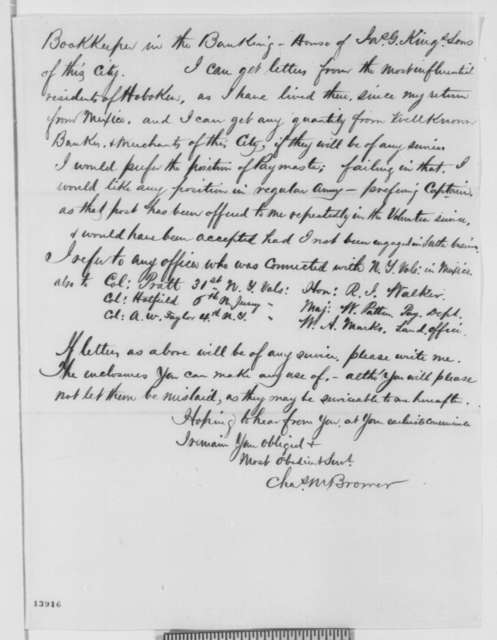 Charles M. Brower to Mrs. S. Harlow, Friday, January 10, 1862  (Seeks office)