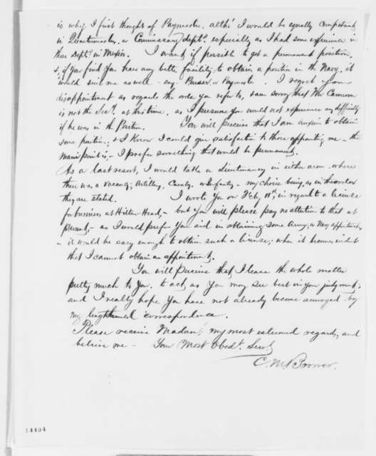 Charles M. Brower to Mrs. S. Harlow, Thursday, February 13, 1862  (Seeks office)