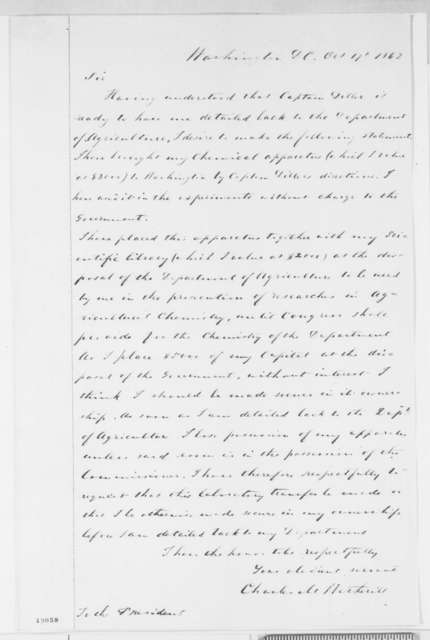 Charles M. Wetherill to Abraham Lincoln, Friday, October 17, 1862  (Laboratory equipment)
