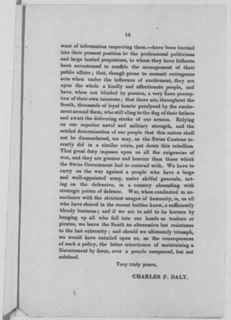 Charles P. Daly to Ira Harris, January 1862  (Pamphlet)