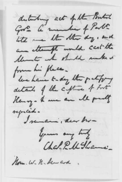 Charles P. McIlvaine to William H. Seward, Friday, February 21, 1862  (Report from London)