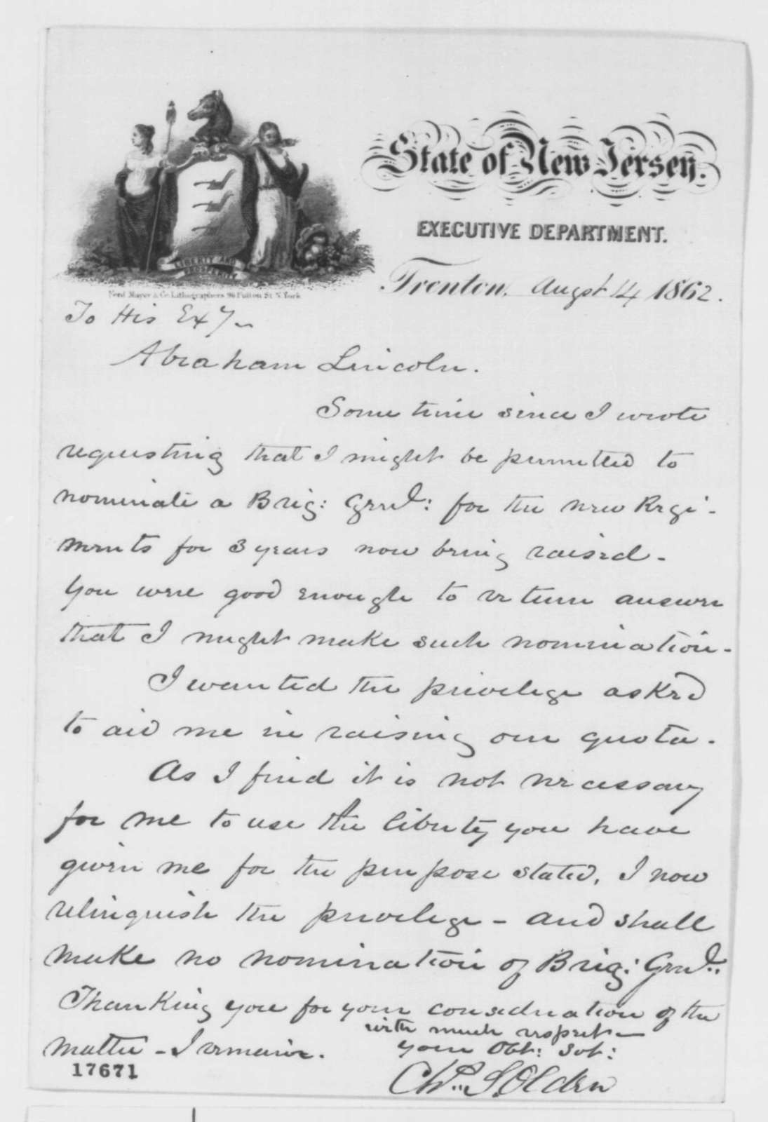 Charles S  Olden to Abraham Lincoln, Thursday, August 14, 1862