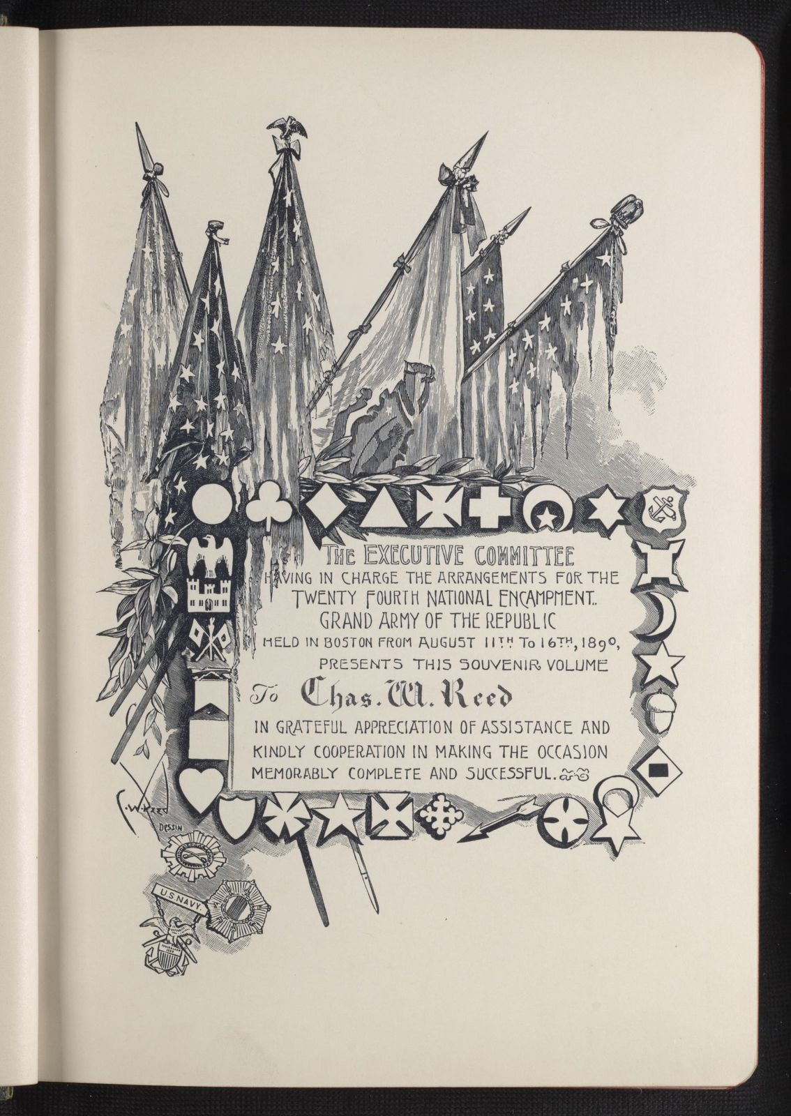 Charles Wellington Reed Papers: Printed matter, including books with illustrations by Reed; Souvenir, Twenty-Fourth National Encampment Grand Army of the Republic, Boston, 1890