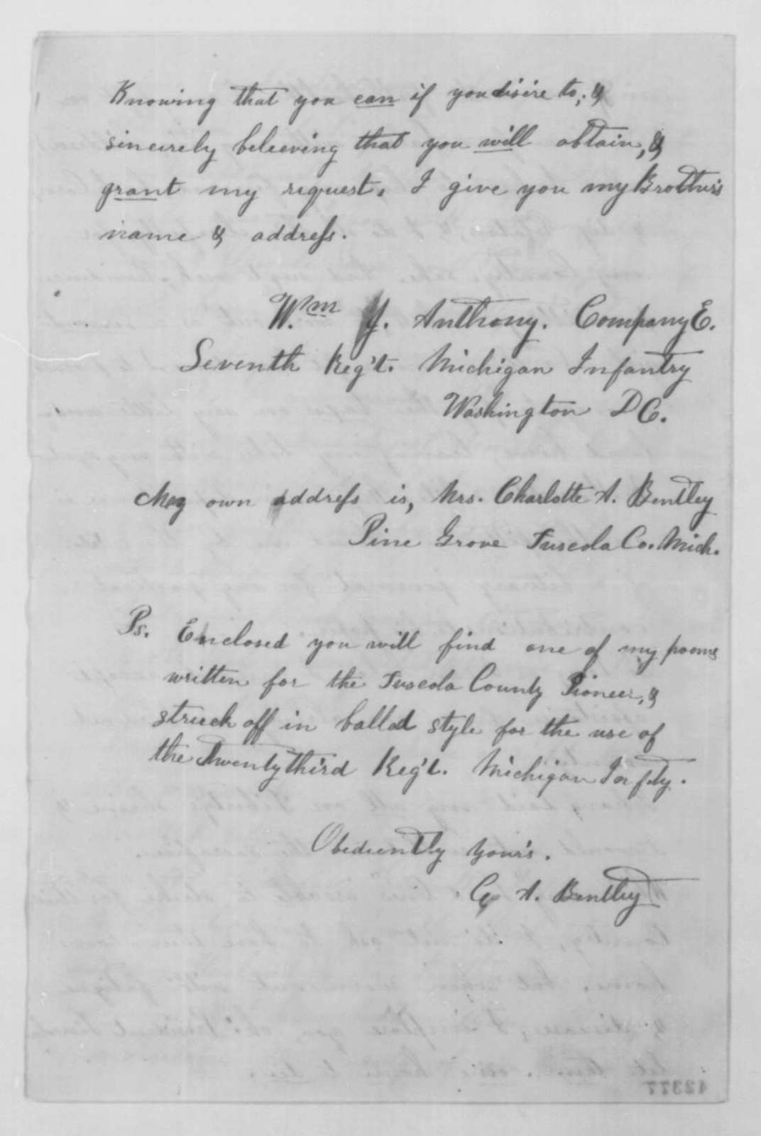 Charlotte A. Bentley to Abraham Lincoln, Monday, October 20, 1862  (Requests furlough for her brother)