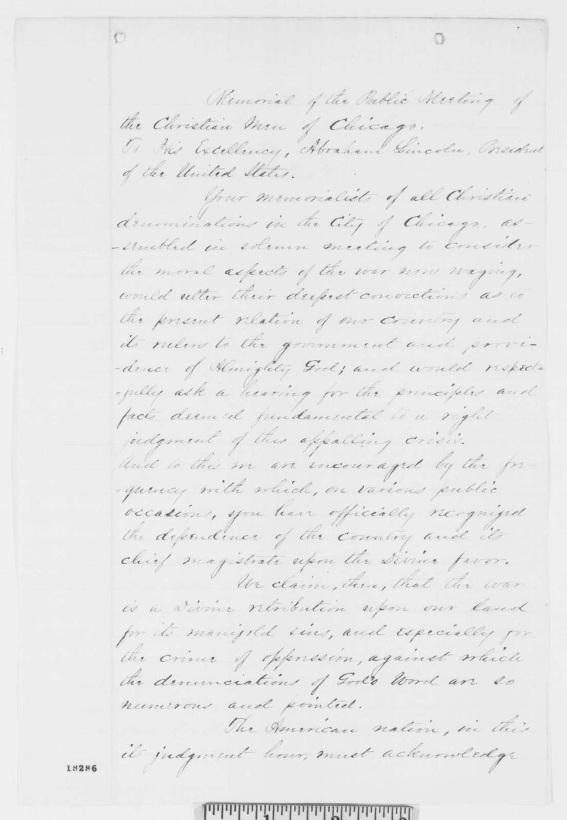 Chicago Citizens to Abraham Lincoln, Monday, September 08, 1862  (Memorial urging emancipation)