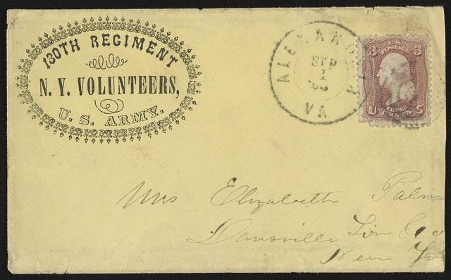 [Civil War envelope for N.Y. Volunteers, 130th Regiment, U.S. Army]