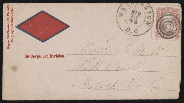 [Civil War envelope showing Army of the Potomac, 3rd Corps, 1st Division, badge with red diamond shape]