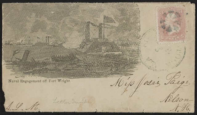 [Civil War envelope showing flotilla of gunboats engaged in battle on the Mississippi River at Fort Wright, Tennessee]