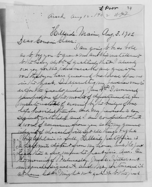 Clara Barton Papers: Family Papers: Poor, Leander A. (cousin), 1862-1904
