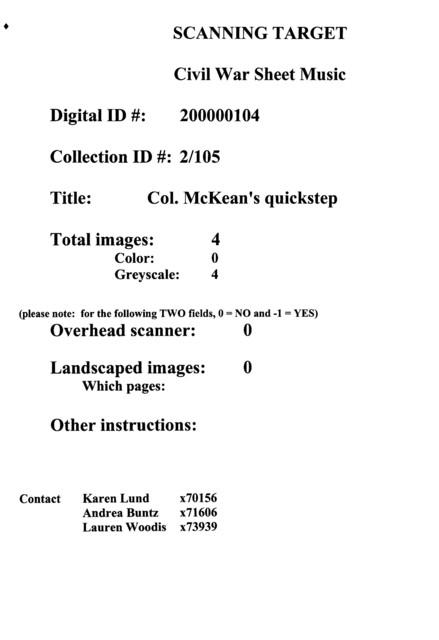 Col. McKean's quickstep