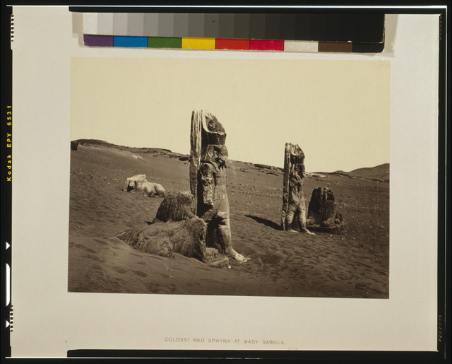 Colossi and Sphynx at Wady Saboua, Nubia / Frith 1857.