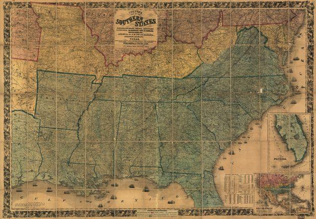 Colton's map of the southern states, including Maryland, Delaware, Virginia, Kentucky, Tennessee, Missouri, North Carolina, South Carolina, Georgia, Alabama, Mississippi, Arkansas, Louisiana, Texas, showing also part of adjoining states & territories locating the forts & military stations of U. States & showing all the rail roads, r. r. stations, & other internal improvements.