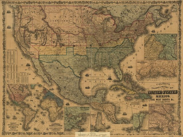 Colton's rail-road and military map of the United States, Mexico, the West Indies, &c.