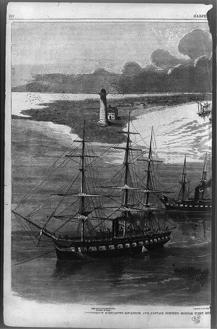 Commodore Farragut's squadron and Captain Porter's mortar fleet entering the Mississippi River