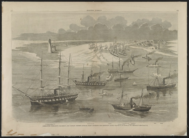 "Commodore Farragut's squadron and Captain Porter's mortar fleet entering the Mississippi River / sketched by an Officer of the ""Mississippi""."