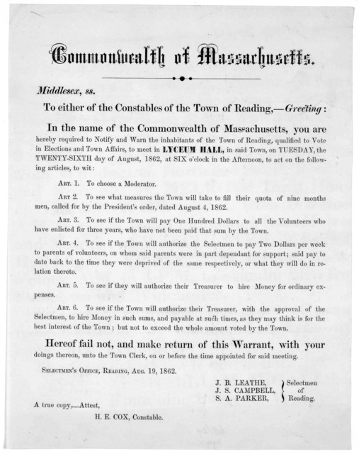 Commonwealth of Massachusetts. Middlesex, ss. To either of the Constables of the Town of Reading.- Greeting: In the name of the Commonwealth of Massachusetts, you are hereby required to notify and warn the inhabitants of the Town of Reading, qua