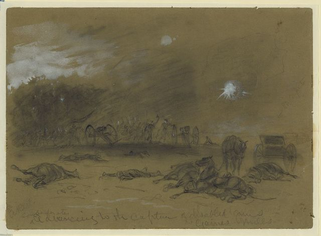 Confederates advancing to the capture of disabled guns. Gaines Mills
