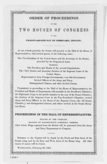 Congress Washington's Birthday Celebration, Thursday, February 20, 1862  (Printed Order)