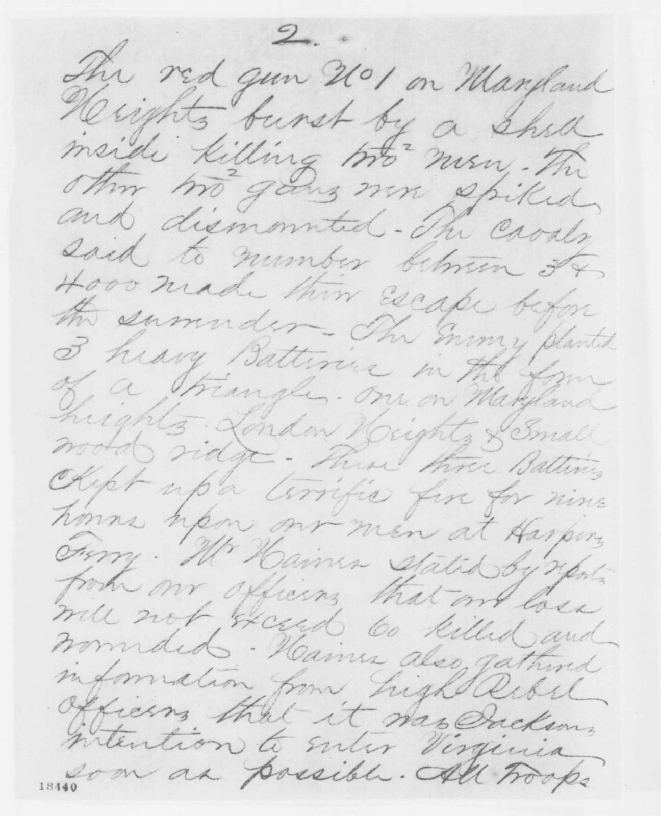 Conway and Hall to Thomas T. Eckert and Anson Stager, Tuesday, September 16, 1862  (Telegram concerning military affairs)