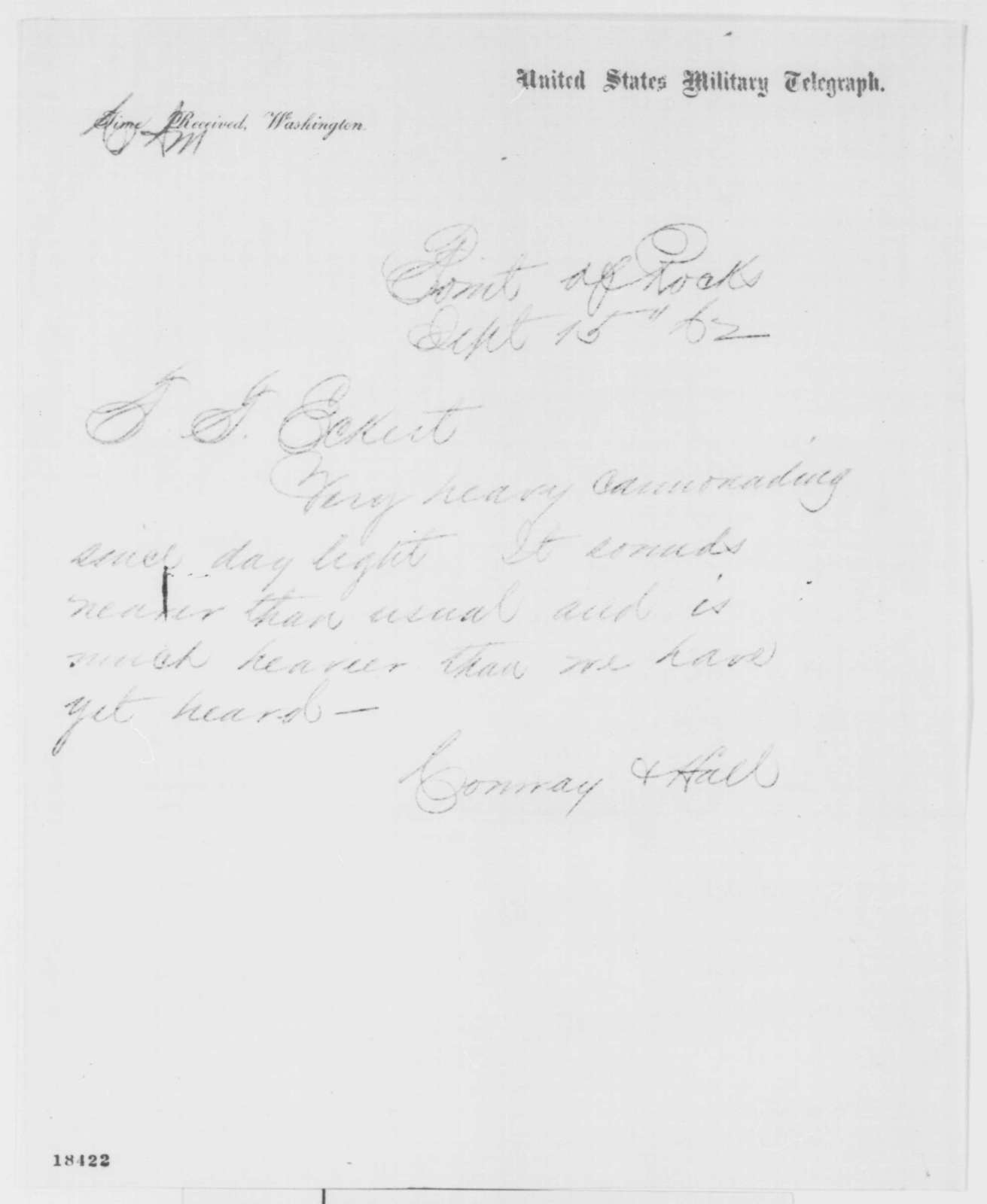 Conway and Hall to Thomas T. Eckert, Monday, September 15, 1862  (Telegram concerning military affairs)