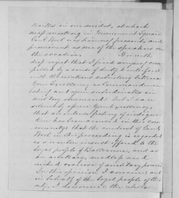 Cornelius L. L. Leary to Abraham Lincoln, Wednesday, October 29, 1862  (Arrest of citizens in Baltimore)