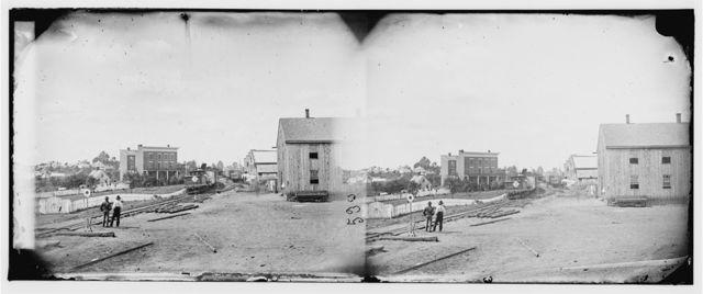 Culpeper Court House, Virginia. View near depot showing locomotive on Orange & Alexandria Railroad