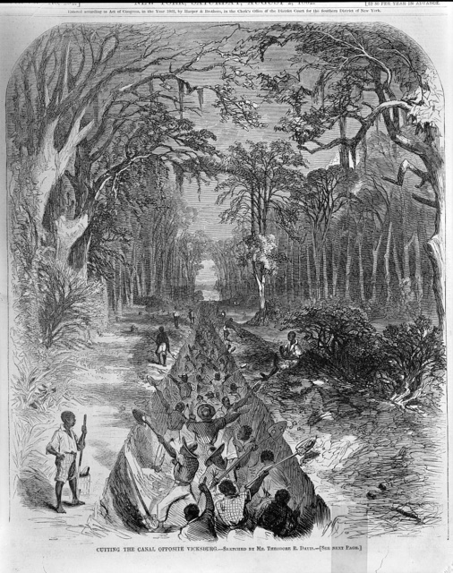 Cutting the canal opposite Vicksburg / sketched by Mr. Theodore R. Davis.