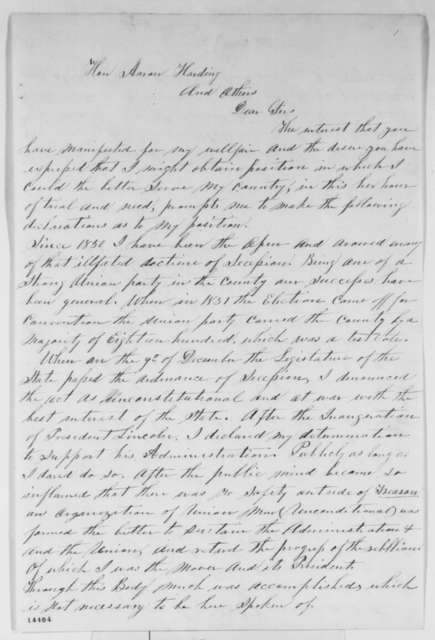 D. K. Boswell to Aaron Harding, et al., Thursday, February 06, 1862  (Mississippi Union supporter)
