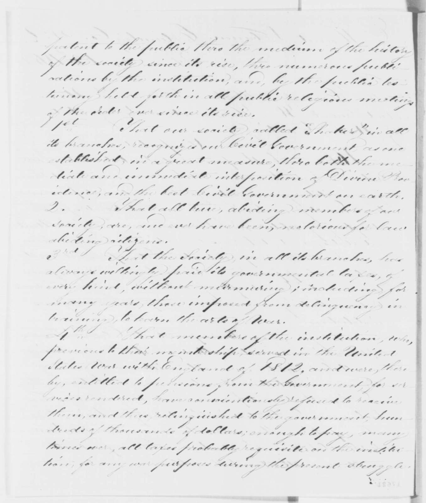 Daniel Boler, et al. to Abraham Lincoln and William H. Seward, Tuesday, August 12, 1862  (Exemption from draft for Shakers)