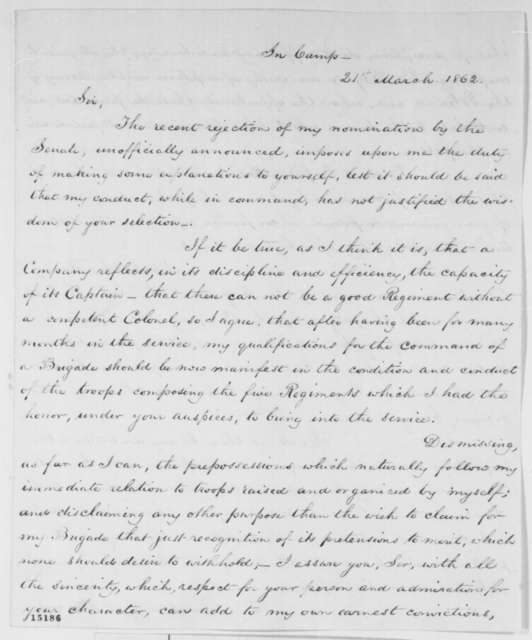 Daniel E. Sickles to Abraham Lincoln, Friday, March 21, 1862  (Promotion)