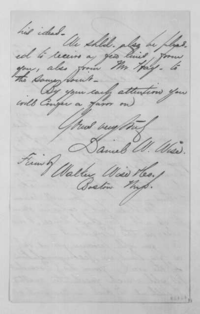 Daniel W. Wise to John G. Nicolay, Friday, December 26, 1862  (Requests letter of support from president)