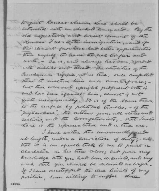 David Hunter to Abraham Lincoln, Friday, February 14, 1862  (Senator James Lane; with copy)