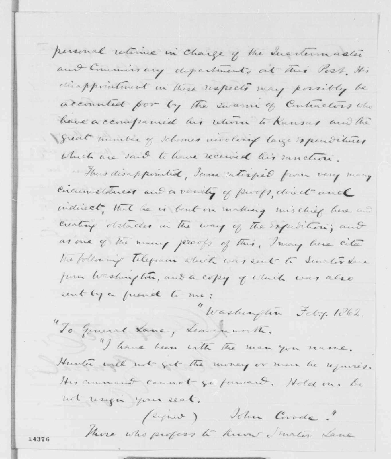 David Hunter to Abraham Lincoln, Tuesday, February 04, 1862  (Senator James Lane)