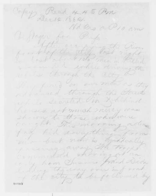Denning to Anson Stager, Friday, December 12, 1862  (Telegram concerning military affairs)
