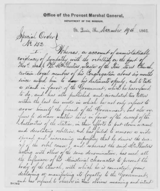Department of Missouri Provost Marshal, Friday, December 19, 1862  (Special Order)