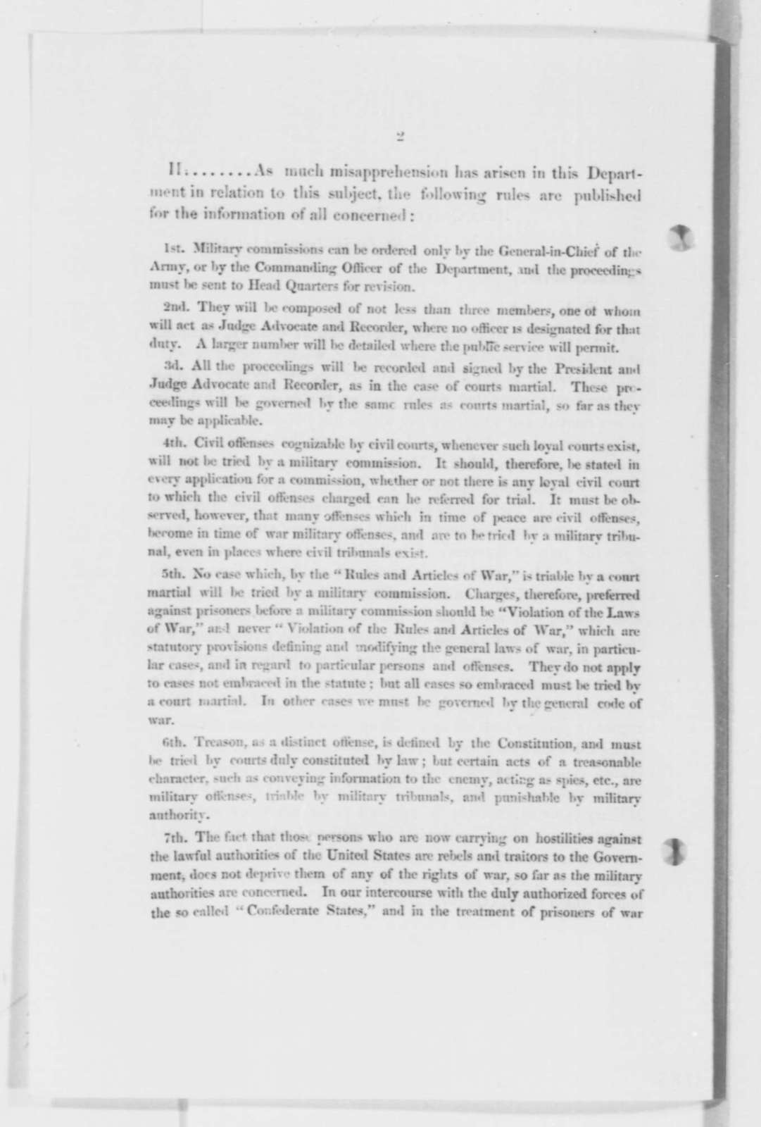 Department of the Missouri, Wednesday, January 01, 1862  (Printed General Orders)