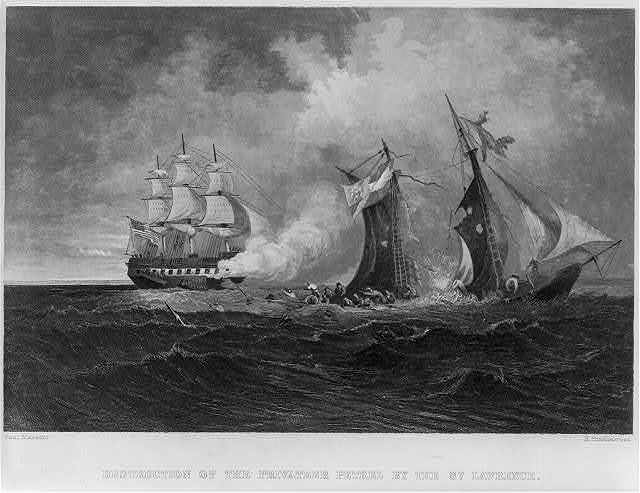Destruction of the privateer PETREL by the ST. LAWRENCE