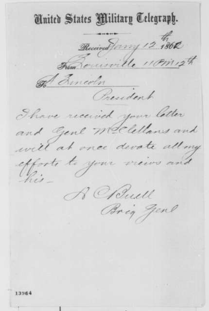 Don C. Buell to Abraham Lincoln, Sunday, January 12, 1862  (Telegram acknowledging receipt of Lincoln's instructions)