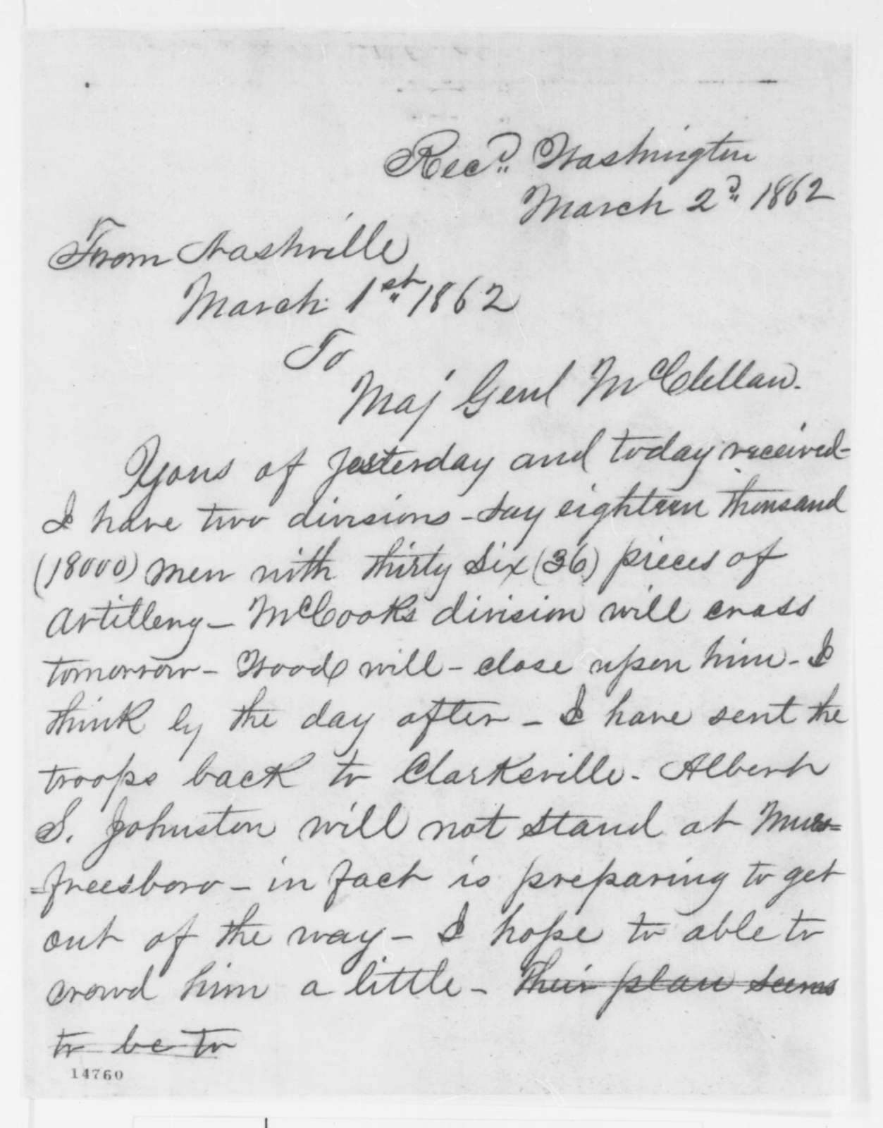 Don C. Buell to George B. McClellan, Saturday, March 01, 1862  (Telegram regarding military affairs)