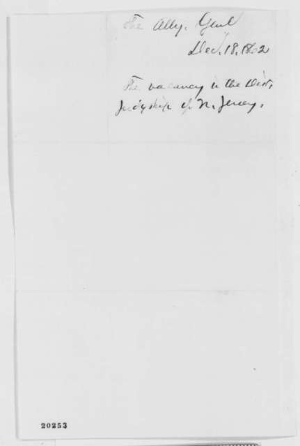 Edward Bates to Abraham Lincoln, Thursday, December 18, 1862  (Judicial appointment)