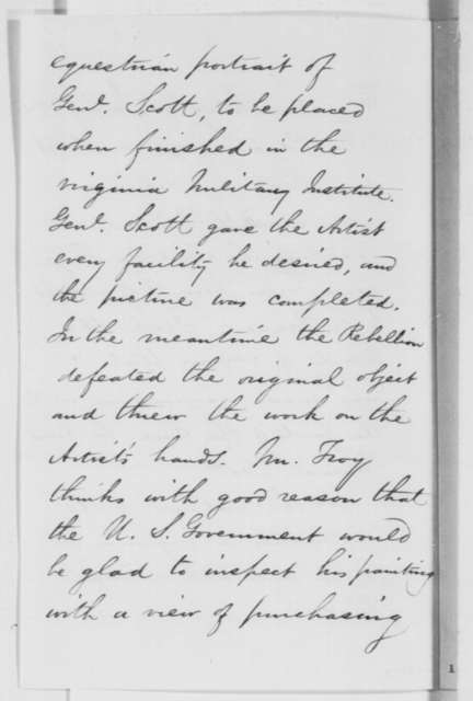 Edward D. Townsend to Abraham Lincoln, Thursday, January 02, 1862  (Painting of Winfield Scott)