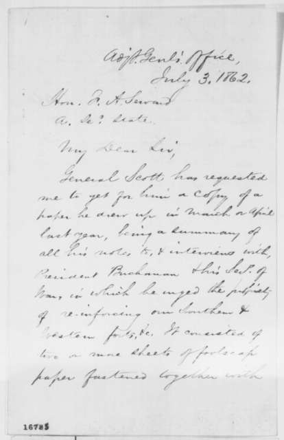 Edward D. Townsend to Frederick W. Seward, Thursday, July 03, 1862  (Requests papers of Gen. Scott)
