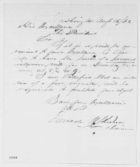 Edward M. Thomas to Abraham Lincoln, Saturday, August 16, 1862  (Seeks interview)